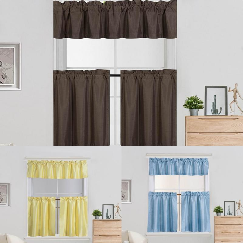 3PC Set Window Dressing Kitchen Curtain Solid Lined Blackout