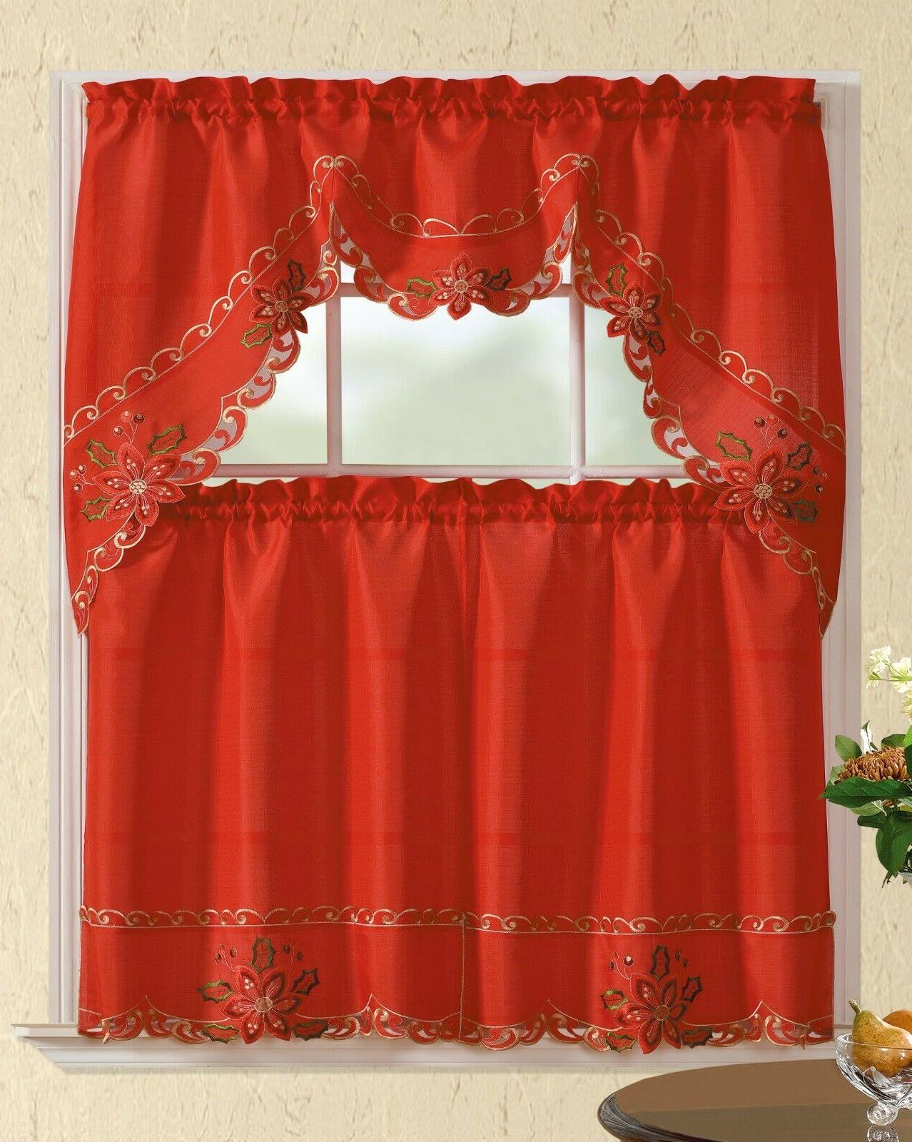 3pc christmas holiday design embroidered kitchen curtain