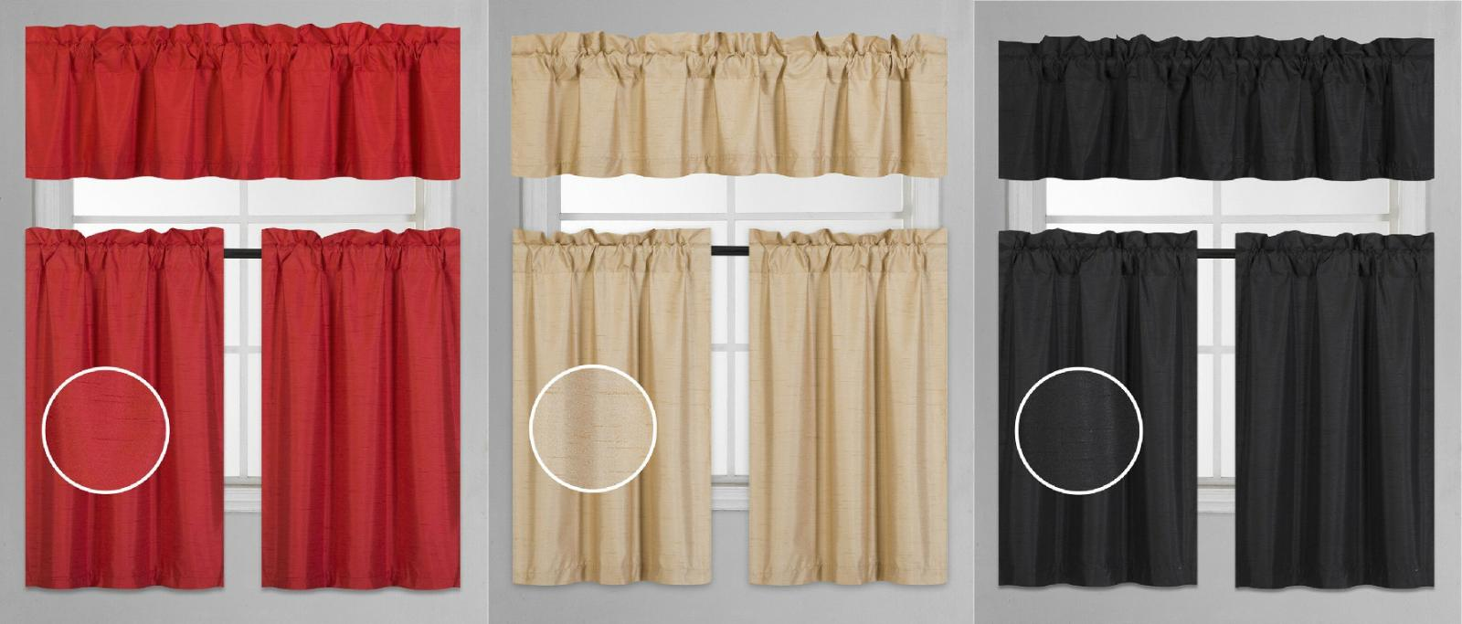 3pc Set 2 Panel 1 Valance Solid Lined