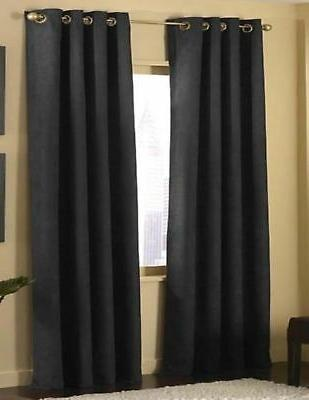 Fancy Linen 4 Pices Solid Suede Grommet Top Curtain/panel/dr