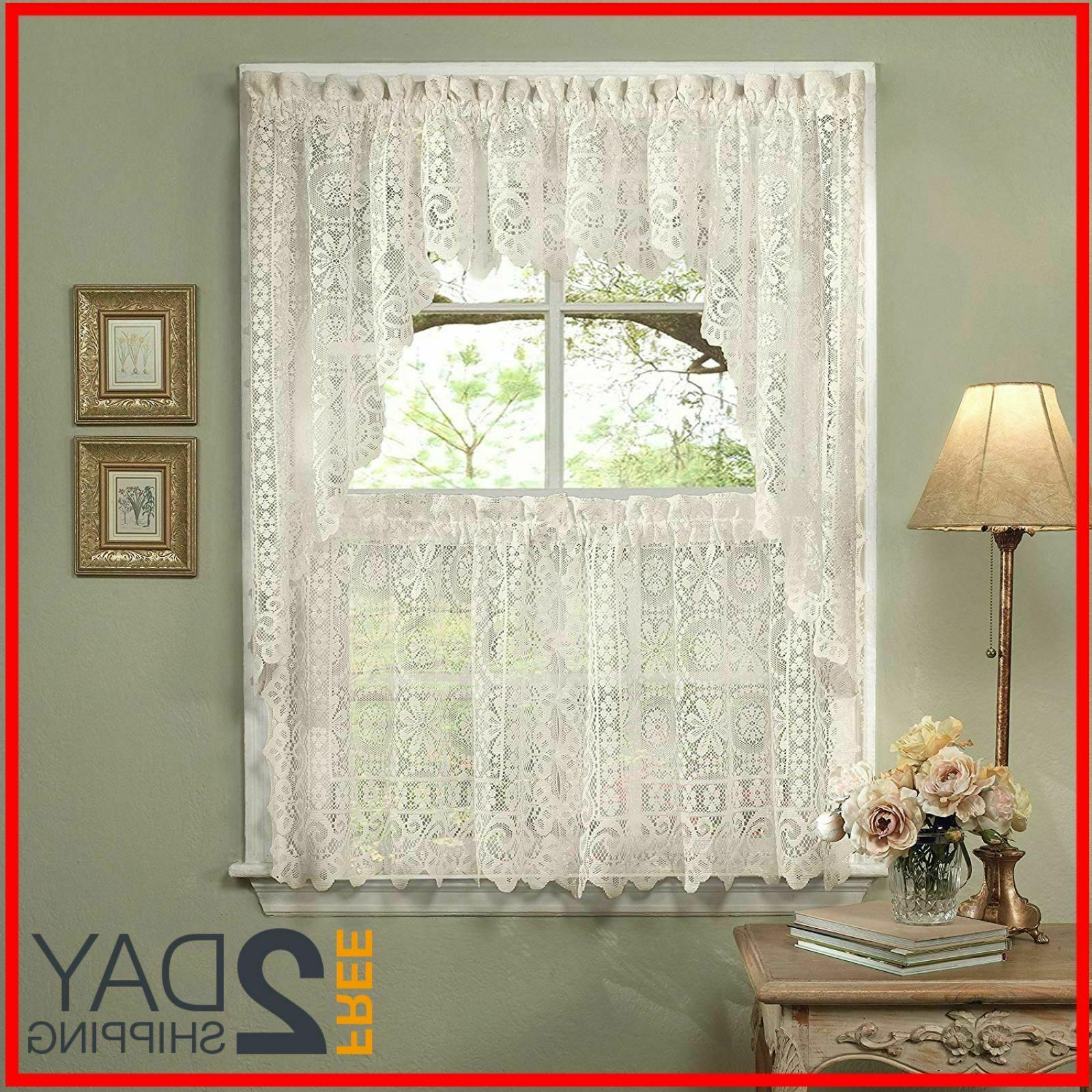 5 Pc Kitchen Curtain Set, Swag Pair, Valance, Choice of 24""