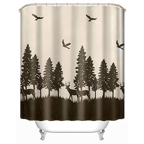 Uphome Deer Forest Fabric Shower - Hunting Beige and Waterproof Mildew Cloth Shower Decor, X Inch