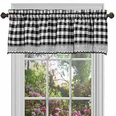 Black Checkered Kitchen Window Curtain Panel