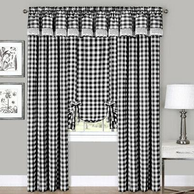 Black Checkered Plaid Gingham Kitchen Window Curtain Drapes