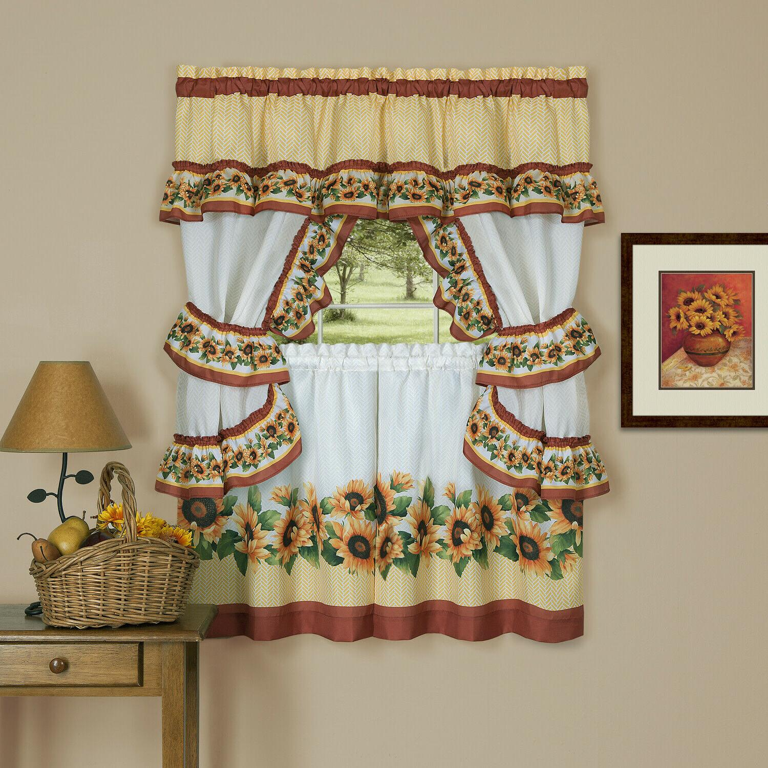 Chevron Sunflower Complete Cottage Kitchen Curtain Set by Go