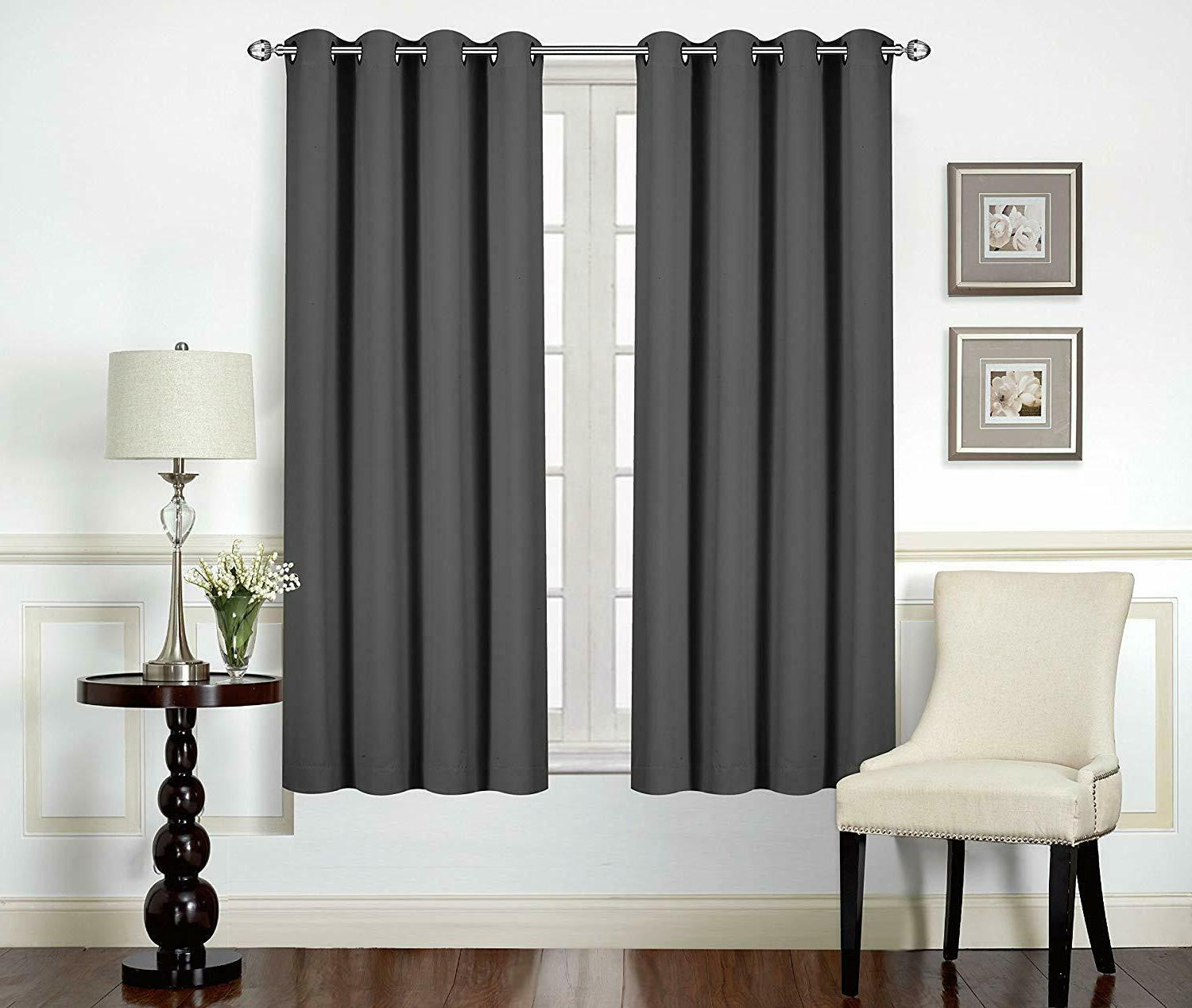 Curtains Blackout Room Darkening Grommet Window Panel Drapes