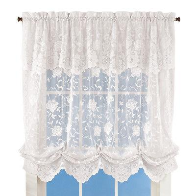floral lace balloon shade window curtain by
