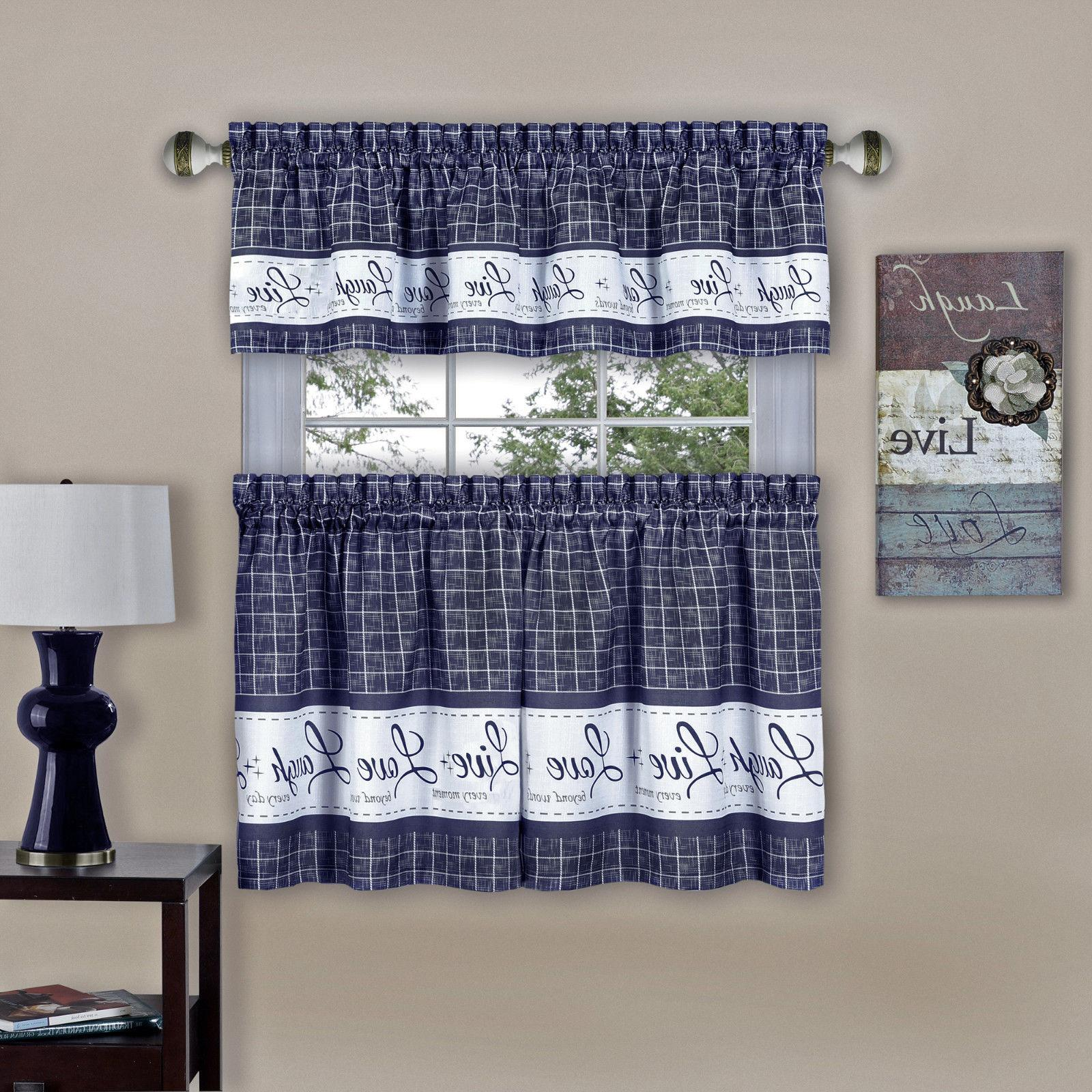 Gingham Check Pc Curtain Set - Sizes