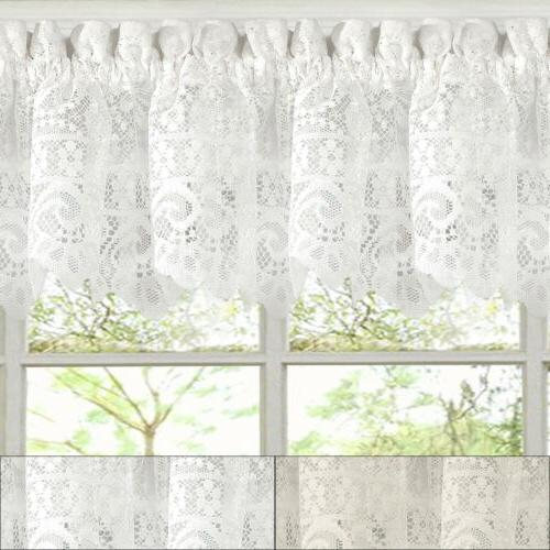 """Hopewell Heavy Floral Lace Kitchen Window Curtain 12"""" x 58"""""""