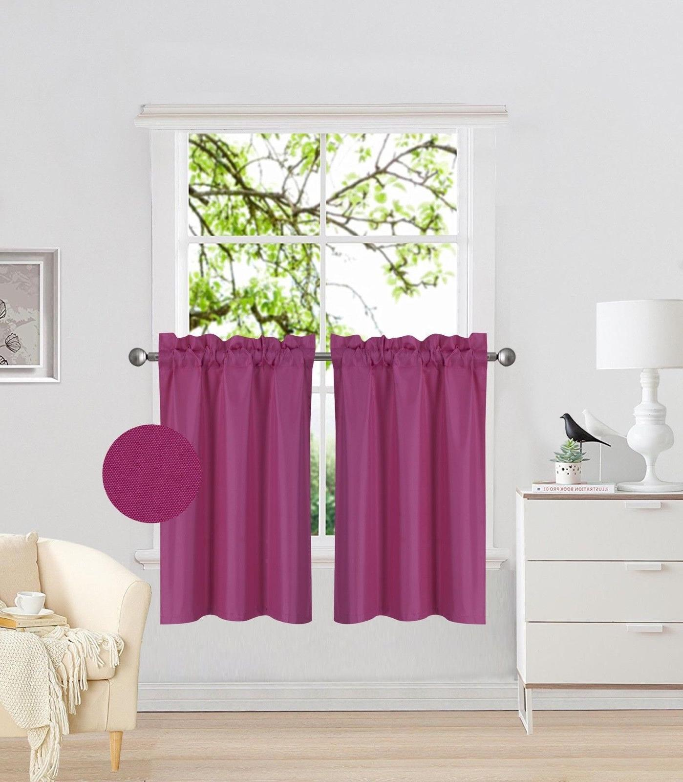 "Kitchen Pocket Insulated Blackout Tier Curtains 1 PAIR 30""x36"""