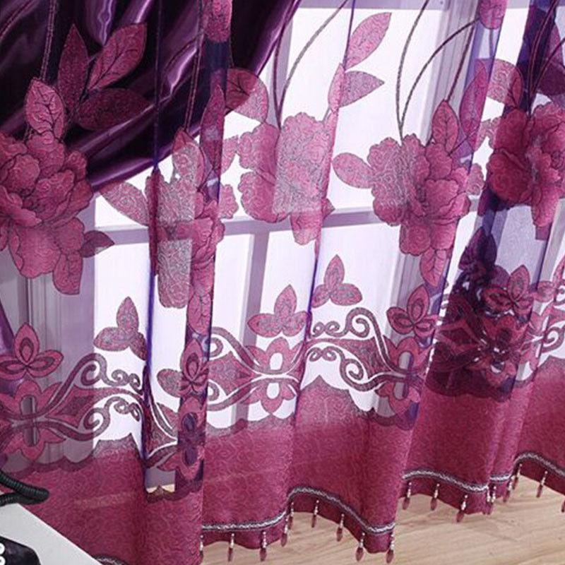 Luxurious Jacquard Window Burnout Tulle for Living Bedroom