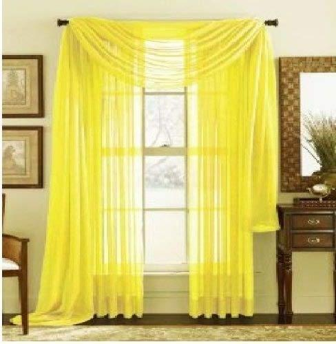 MONAGIFTS BRIGHT YELLOW Scarf Voile Window Panel Solid sheer