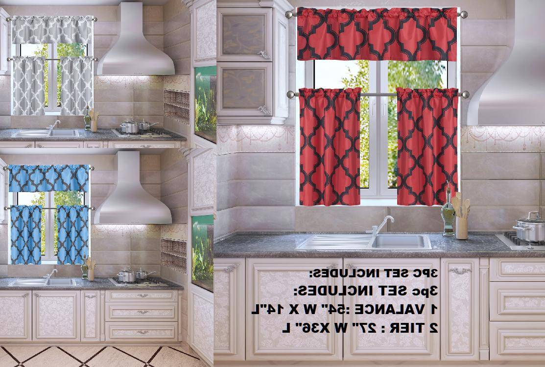 MOROCCAN SILKY HALF WINDOW SMALL CURTAIN PRINTED LINED BLACK