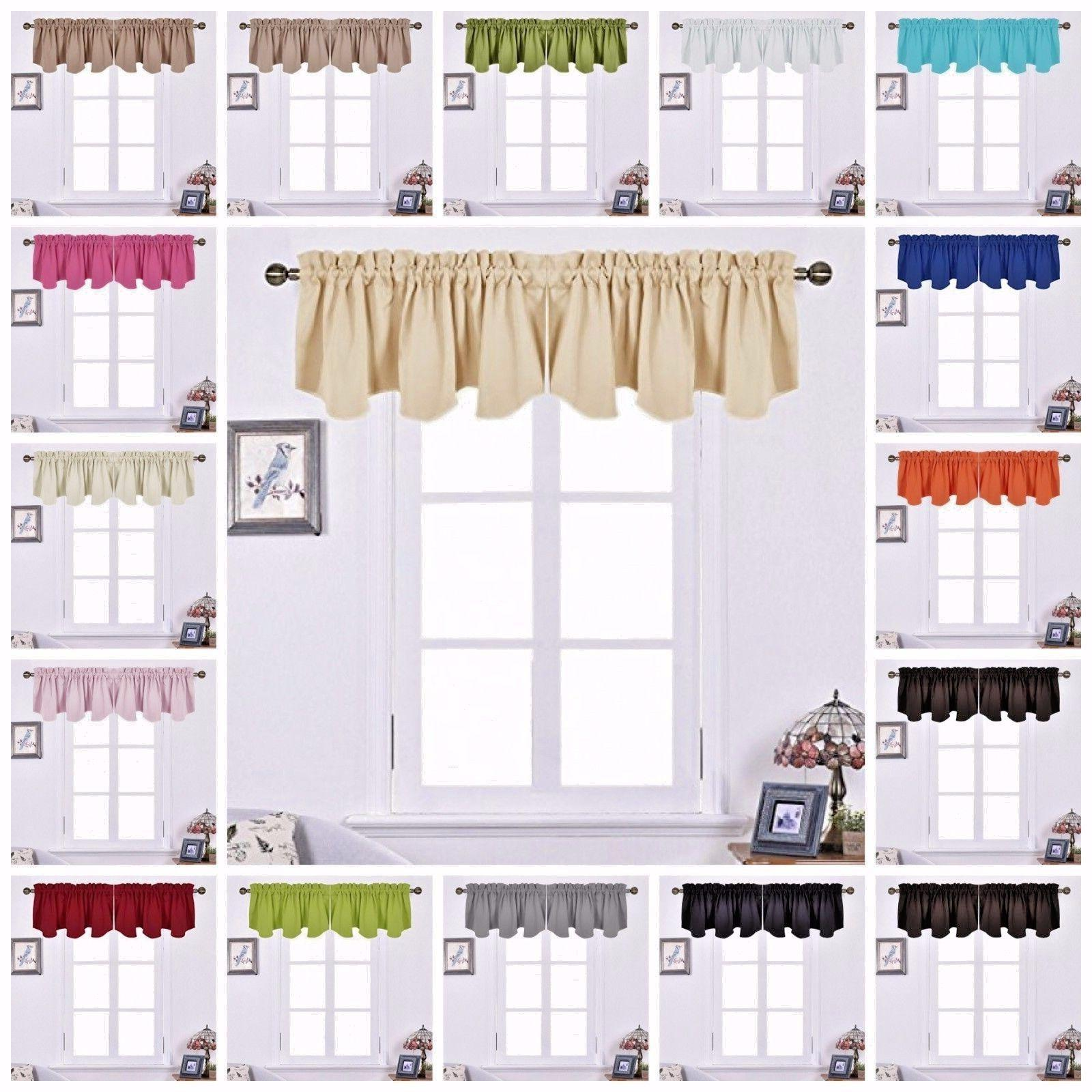 Scalloped Window Valance Curtain Panels Blackout Kitchen Cur