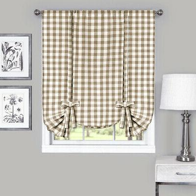 Taupe Gingham Kitchen Drapes Panel