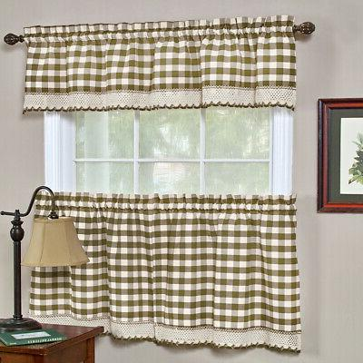 Taupe Plaid Gingham Kitchen Panel