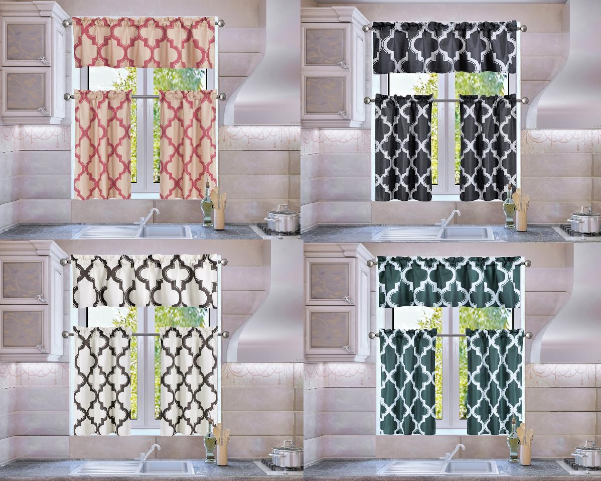 Trellis Geometric Panel Blackout Lined Window Kitchen 3PC Cu