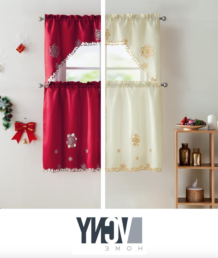 VCNY Home Christmas Embroidered Kitchen Curtain Set - Assort