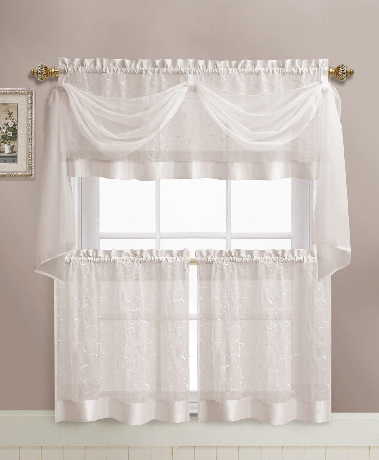 VCNY Home Linen Embroidered Complete Curtain Set - Assorted Colors