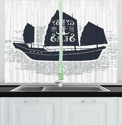 Vintage Boat Kitchen Curtains 2 Panel Set Window Drapes 55""