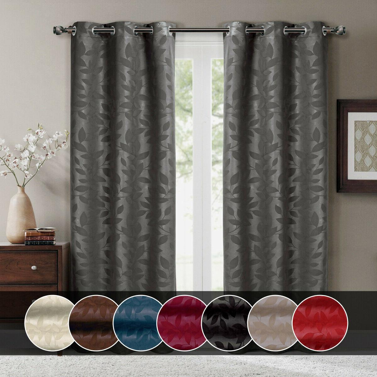 Virginia Blackout Leafy Weave Curtains Modern Grommets Set o