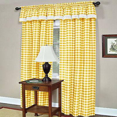 Yellow Gingham Kitchen Curtain Drapes Panel Shade
