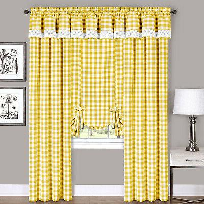Yellow Checkered Plaid Gingham Kitchen Window Curtain Drapes