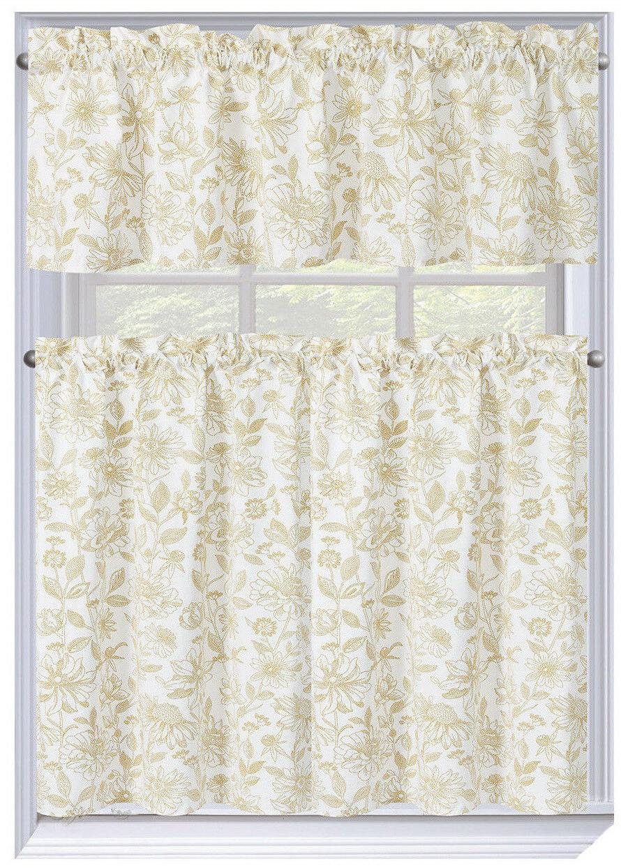 Amelia Pc. Kitchen Curtain Tier Valance Assorted Colors