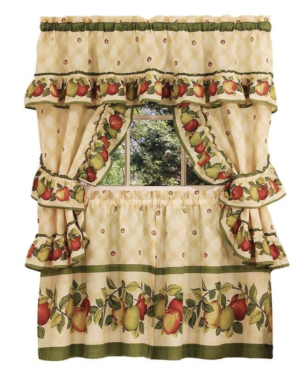 apple orchard complete 5 pc kitchen curtain
