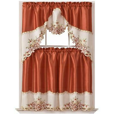 arch floral kitchen curtain set swag valance