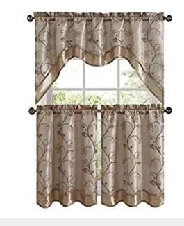 audrey complete embroidered kitchen curtain