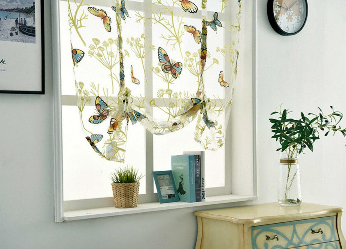 Balloon Sheer Offset Curtain with Ribbon Panel