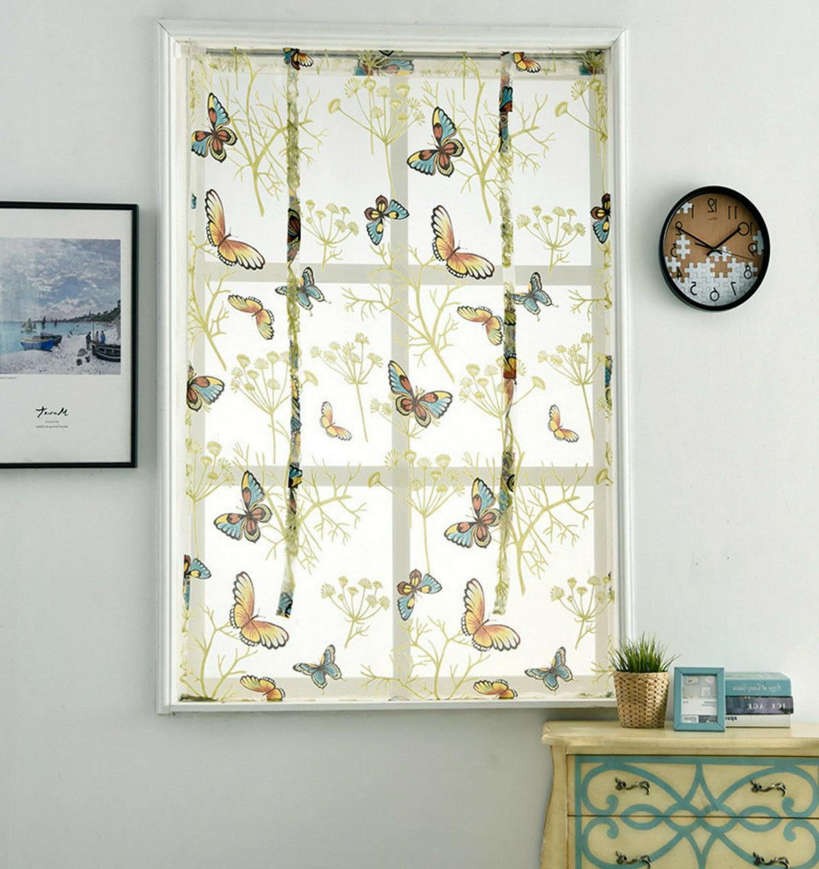 Balloon Curtain Roll Sheer Offset Kitchen Curtain with Ribbon Panel
