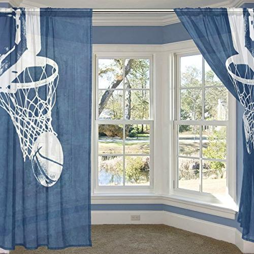 ALIREA Basketball Background Curtain Panels Tulle Polyester Voile Curtains Room inches, Panels Set