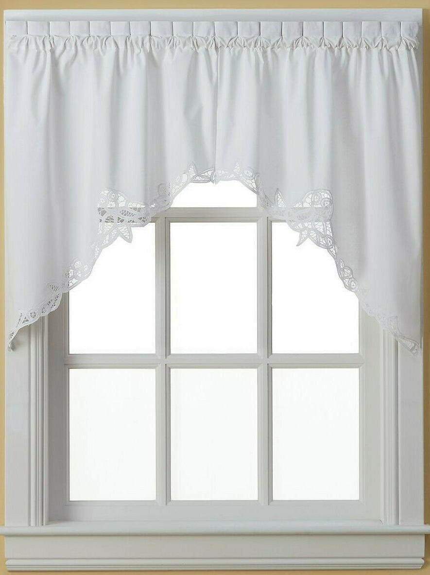 Battenburg Lace embroidered Kitchen Curtain collection - Whi