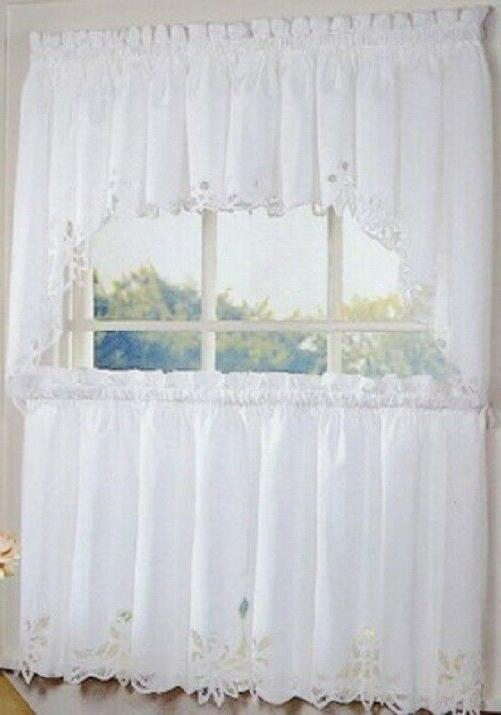 battenburg lace embroidered kitchen curtain collection white
