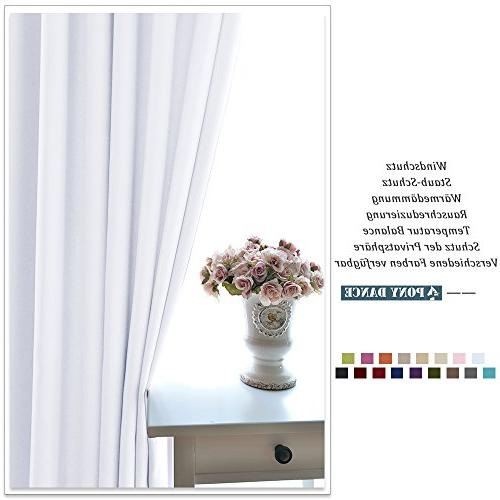 "PONY DANCE Bedroom Curtains Home Thermal Window for Kitchen, 42"" by Pure White, 2"