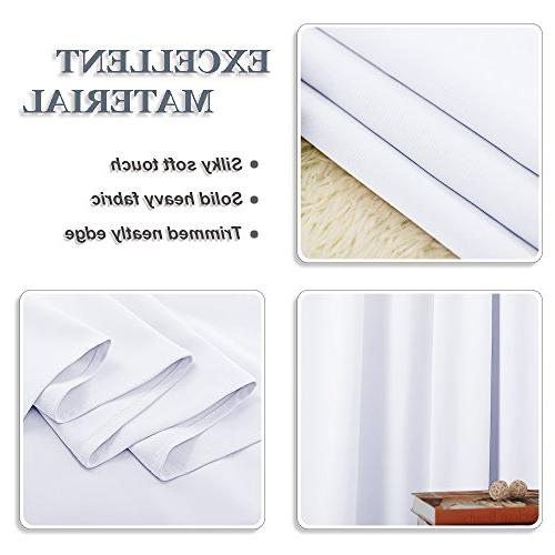 "PONY Window Curtains Home Thermal Curtain Panels Darkening Window Covering Energy by 63"" L, Pure White, 2"
