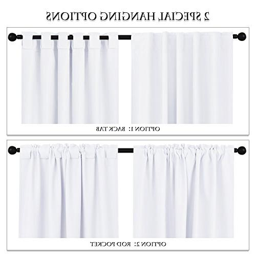 "PONY DANCE Curtains Home Thermal Darkening Back Window Covering for 42"" White, Set"