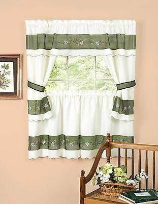 Berkshire Embroidered Floral Complete Kitchen Curtain Set -