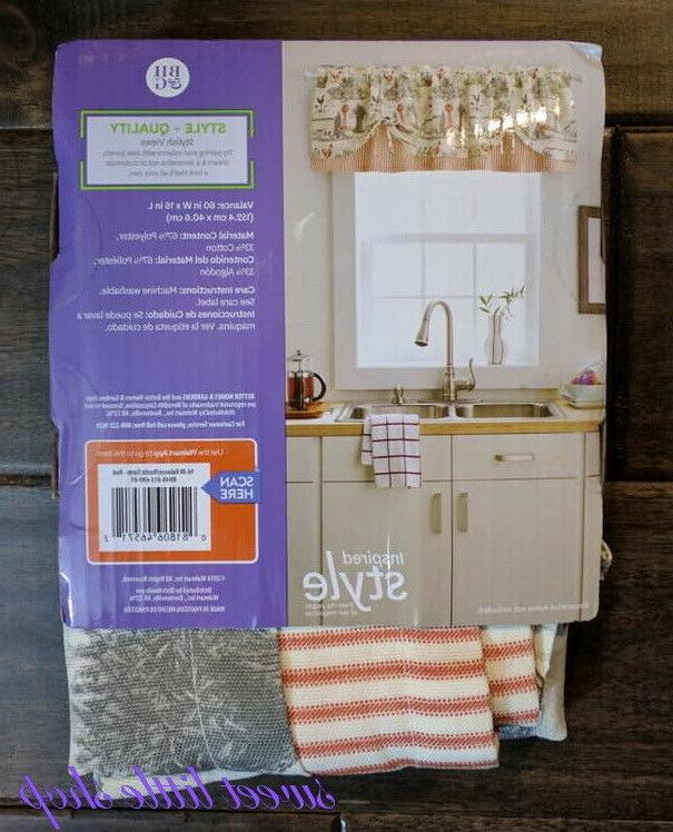 Better Gardens Country Valance Cream Red Farmhouse