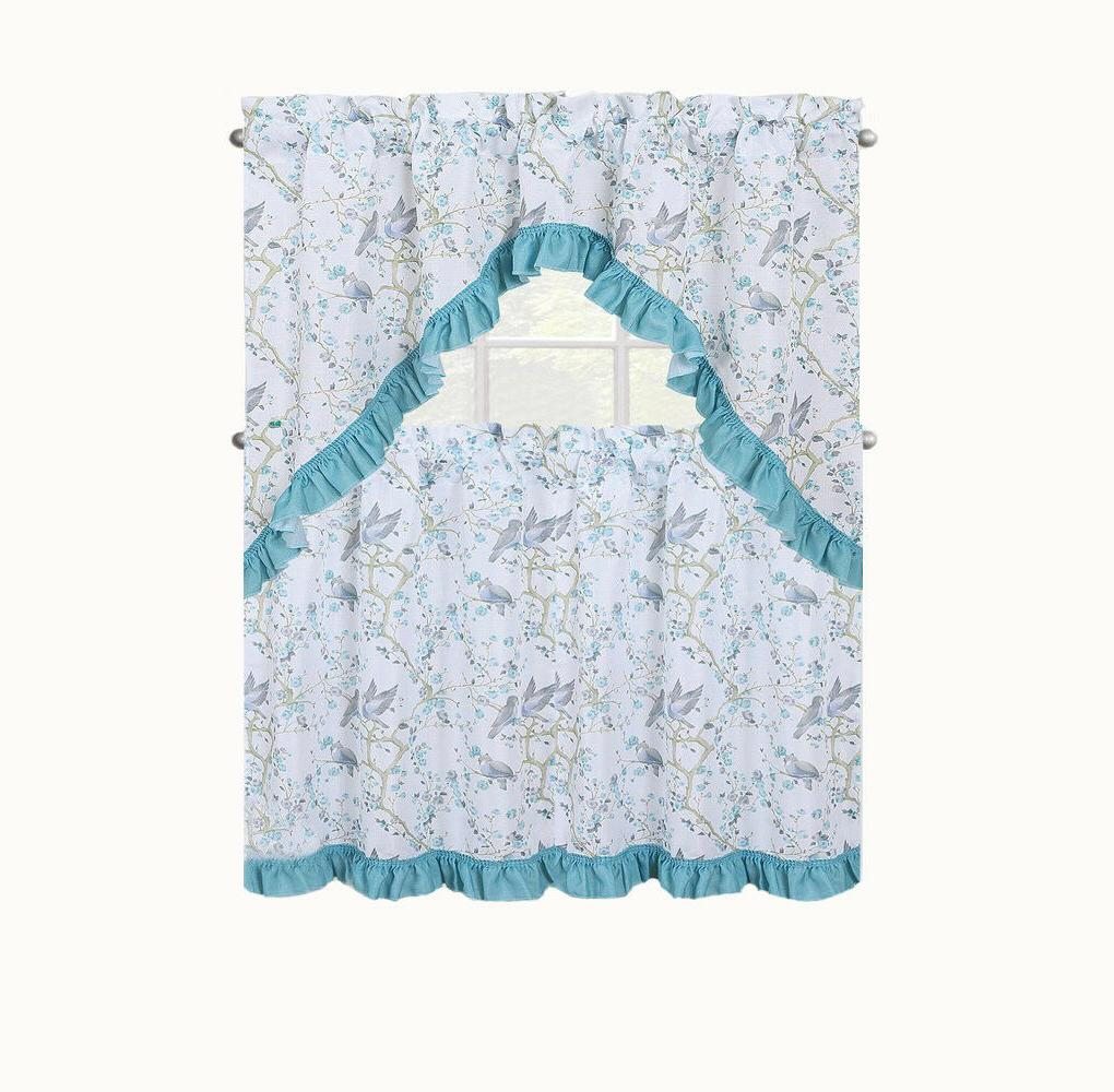 birds and blossom kitchen curtain set assorted