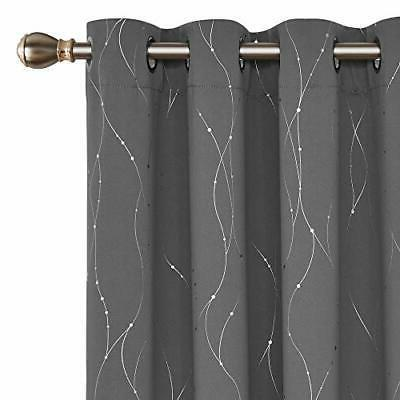 blackout curtains grommets with dots pattern thermal
