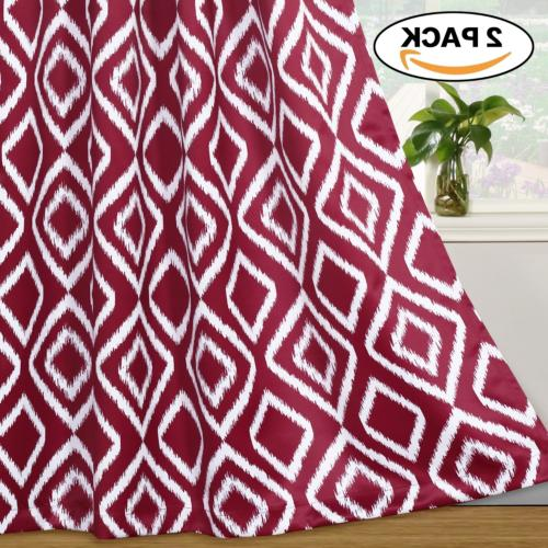 Flamingo P Blackout Curtains Ikat Fret Burgundy Red Curtain