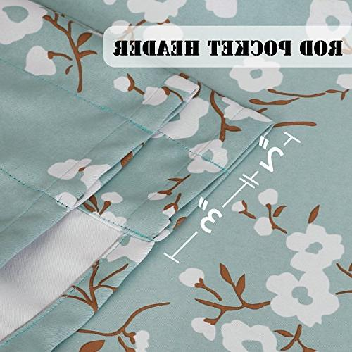 H.VERSAILTEX Blackout Saving Ultra Soft Curtains, Curtain Bath, Bedroom Aqua Pattern -