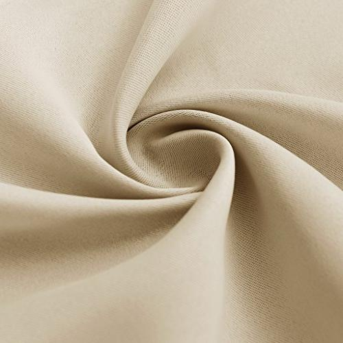 RYB Beige Covering Curtain Thermal Insulated Room Curtains for Bedroom & Polyester
