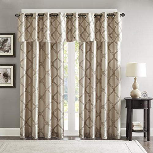 Bombay Curtains Living Valance For Teramo Embroidered Modern Window Curtains, 50X18, Pack