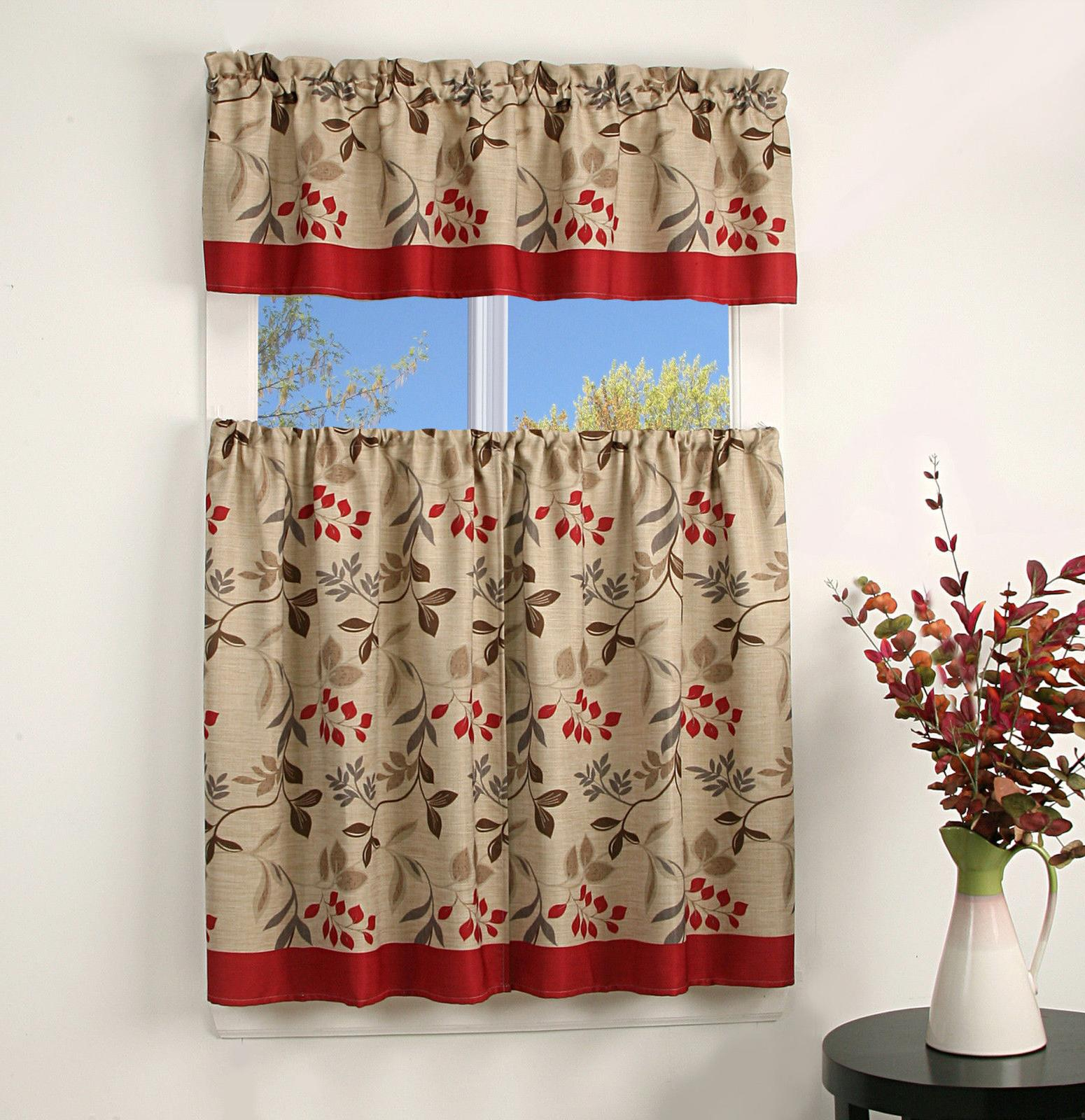 bright leaves kitchen curtain tier