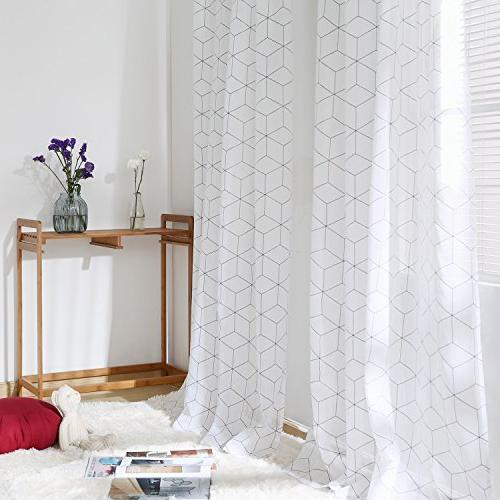 Deconovo White Panels Look Curtains for Bedroom 52W 84L 2 Panels