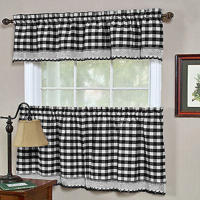 buffalo check black gingham kitchen curtain window